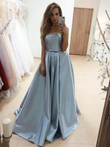 Ball Gown Strapless Blue Satin Long Prom Dresses with Bow, Elegant Gown Dresses with Pockets