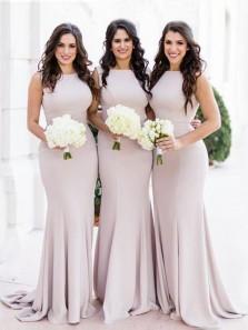 Elegant Mermaid Round Neck Light Purple Long Bridesmaid Dresses