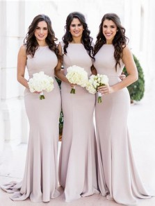 Elegant Mermaid Round Neck Light Purple Long Bridesmaid Dresses