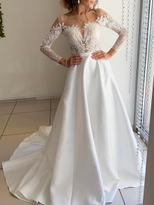 Gorgeous Ball Gown Round Neck Open Back Long Sleeves Satin Wedding Dresses