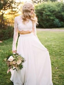 Boho A Line Two Piece Round Neck Long Sleeves Lace Wedding Dresses, Beach Wedding Dresses