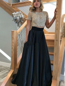 Elegant Two Piece Round Neck Short Sleeves Black Satin Long Prom Dresses with Beaded, Lace Evening Dresses PD19121902