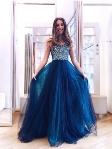 Cute A Line Spaghetti Straps Royal Blue Beaded Long Prom Dresses, Cross Back Evening Party Dresses PD19121901