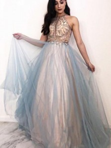 Gorgeous Fairy Beaded Keyhole Tulle Beaded Long Prom Dresses, Fairy Prom Gowns