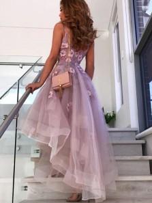 Fashion A Line V Neck Open Back Lavender Tulle High Low Prom Dresses, Cute Flower Dresses