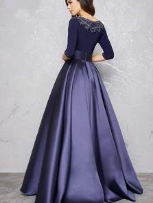 Elegant Ball Gown Round Neck Half Sleeves Dark Navy Satin Long Prom Dresses, Beaded Evening Dresses