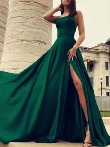 Charming A Line Spaghetti Straps Cross Back Dark Green Satin Prom Dresses Under 100, Split Evening Party Dresses