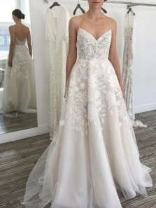 Simple Ball Gown Sweetheart Spaghetti Straps Ivory Wedding Dresses with Lace, Appliques with Wedding Gowns