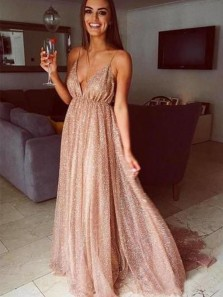 Charming A Line V Neck Spaghetti Straps Champagne Sequins Long Prom Dresses, Fashion Evening Party Dresses