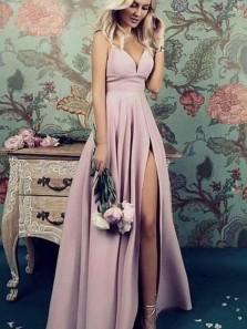 Elegant A Line V Neck Spaghetti Straps Purple Pink Slit Prom Dresses, Simple Bridesmaid Dresses