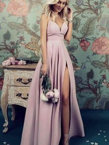 Elegant A Line V Neck Spaghetti Straps Purple Pink Slit Prom Dresses, Simple Bridesmaid Dresses