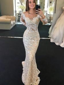 Gorgeous Mermaid Round Neck Long Sleeves Lace Wedding Dresses, Champagne Wedding Dresses with Beading