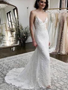 Charming Mermaid V Neck Spaghetti Straps Ivory Lace Wedding Dresses with Train, Boho Wedding Dresses