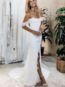 Elegant Off the Shoulder Open Back Lace Wedding Dresses, Boho Beach Wedding Dresses