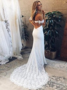 Elegant Off the Shoulder Open Back Lace Wedding Dresses, Boho Beach Wedding Dresses