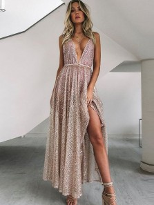 Sexy A Line V Neck Split Sequins Long Party Dresses, Unique Prom Dresses