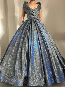 Gorgeous Ball Gown V Neck Sparkly Satin Long Prom Dresses with Pockets, Quinceanera Dresses, Pageant Dresses