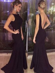 Elegant Mermaid Round Neck Open Back Black Satin Long Prom Dresses Under 100, Foraml Evening Party Dresses