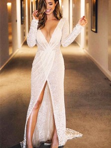 Charming Mermaid V Neck Long Sleeves Ivory Sequins Long Prom Dresses, Sparkly Party Dresses