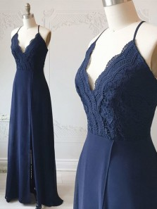 Sheath V Neck Spaghetti Straps Navy Lace Long Bridesmaid Dresses Under 100, Simple Bridesmaid Gowns