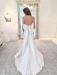 Vintage Mermaid Strapless Open Back Satin Long Wedding Dresses with Bow, Simple Wedding Dresses