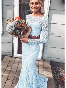 Chamring Mermaid Two Piece Round Neck Long Sleeves Blue Lace Prom Dresses, Elegant Formal Dresses