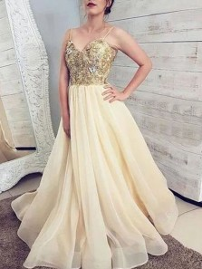 Gorgeous Ball Gown V Neck Spaghetti Straps Daffodil Organza Long Prom Dresses, Lace Gown Dresses