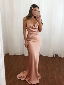 Simple Mermaid V Neck Spaghetti Straps Open Back Blush Long Prom Dresses, Elegant Evening Dresses