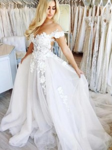 Fairy Ball Gown Off the Shoulder Open Back Lace Long Wedding Dresses, Wedding Gowns