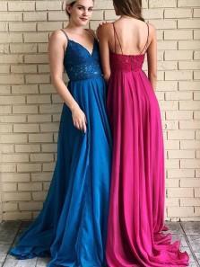 Fairy V Neck Spaghetti Straps Open Back Blue Long Prom Dresses with Lace, Elegant Prom Dresses