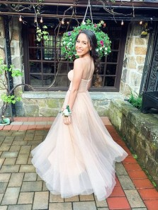 Cute A Line Sweetheart Champagne Sparkly Tulle Long Prom Dresses, Fashion Evening Dresses