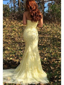 Cute Mermaid Strapless Daffodil Lace Tulle Long Prom Dresses, Elegant Prom Dresses with Split