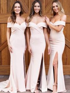 Elegant Mermaid Off the Shoulder Split Pink Long Bridesmaid Dresses Under 100 BD19122601
