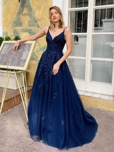 Charming Ball Gown V Neck Spaghetti Straps Cross Back Navy Blue Long Prom Dresses with Appliques, Cute Gown Dresses