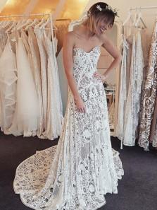 Vintage Mermaid Sweetheart Elegant Lace Long Wedding Dresses, Elegant Wedding Gowns, Boho Beach Wedding Dresses