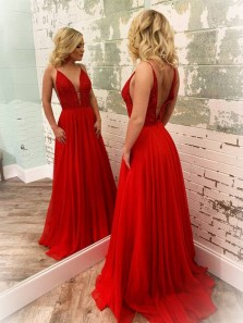 Cute A Line V Neck Open Back Red Chiffon Long Prom Dresses with Beading, Fashion Evening Party Dresses