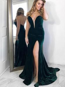 Elegant Mermaid Deep V Neck Open Back Velvet Dark Green Prom Dresses, Slit Evening Party Dresses