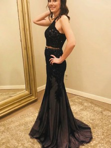 Elegant Mermaid Two Piece Halter Black Lace Beaded Long Prom Dresses, Formal Evening Party Dresses