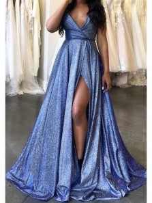 Fashion A Line V Neck Slit Royal Blue Sparkly Satin Long Prom Dresses, Elegant Evening Dresses