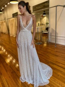 Gorgeous V Neck Spaghetti Straps Sequins Wedding Dresses with Train, Boho Beach Wedding Dresses