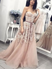Ball Gown Sweetheart Dusty Blush Lace Long Prom Dresses, Elegant Gown Dresses