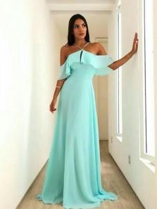 Elegant Sheath Off the Shoulder Halter Blush Chiffon Long Prom Dresses Under 100, Cheap Bridesmaid Dresses