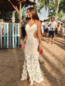 Mermaid V Neck Spaghetti Straps 3D Flower Lace Beach Dresses, Slit Lace Dresses