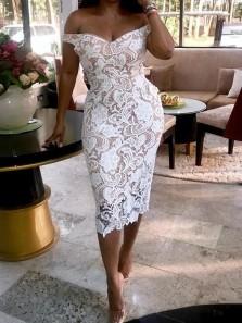Sheath Off the Shoulder White Lace Long Bridesmaid Dresses Under 100, Elegant Bridesmaid Dresses