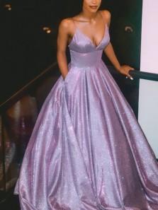 Sparkly V Neck Spaghetti Straps Lavender Satin Long Prom Dresses with Pockets PD1916001