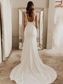 Elegant Mermaid Scoop Neck Open Back Soft Satin Wedding Dresses with Train WD1916001