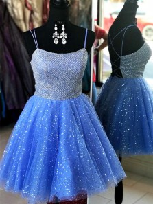 Sparkly A Line Scoop Neck Cross Back Blue Short Homecoming Dresses with Beading, Cute HOCO Dresses