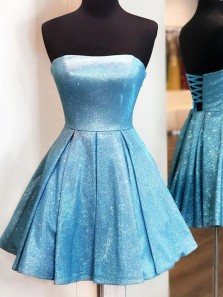 Cute A Line Strapless Blue Sparkly Satin Short Homecoming Dresses, Cross Back Cocktail Dresses