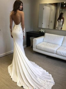Elegant Mermaid V Neck Open Back Long Sleeves Wedding Dresses with Lace