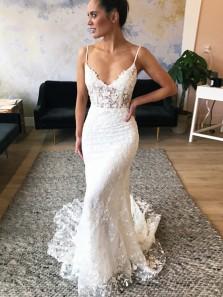 Elegant V Neck Spaghetti Straps Lace Wedding Dresses with Train, Beautiful Mermaid Wedding Dresses